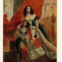 Portrait of Countess, old Russian Postcard Art work K. Bryullov unused 1957