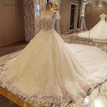 LS00031 Gorgeous champage bridal gown lace short sleeves ball gown lace wedding dress vestidos de noivas real photos