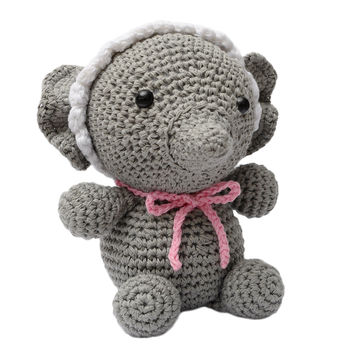 Gray Baby Elephant Handmade Amigurumi Stuffed Toy Knit Crochet Doll VAC