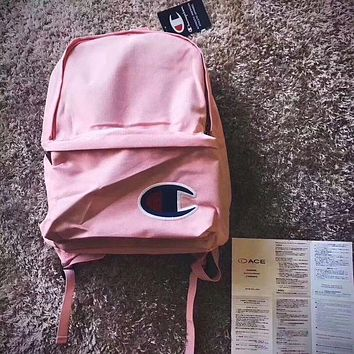 Champion Women Men Casual Sport Laptop Bag Shoulder School Bag Backpack Pink