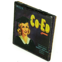 Co-Ed Brand - Vintage Citrus Crate Label - Handmade Recycled Tile Coaster