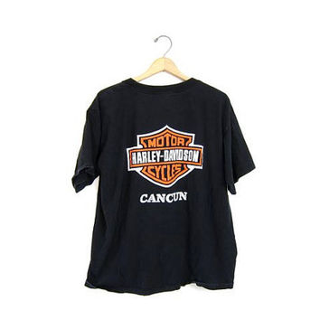 Vintage Black Grunge Harley Davidson tshirt . CANCUN Mexico GRUNGE black moto tee shirt. Oversized Biker Punk Rock Motorcycle Top. Mens XL L
