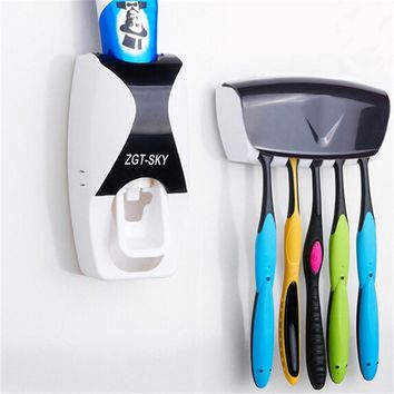 Fashion Home Bathroom Automatic Toothpaste Dispenser 5 Position Toothbrush Holder Bathroom products Wall Mount Rack Bath set