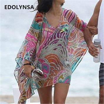 PEAPGC3 Beach Dress Sexy Cover up Chiffon Bikini Kaftan Pareo Sarongs Swimwear Tunic Swimsuit Bathing Suit Cover Ups Robe De Plage #Q244