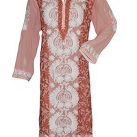 Mogul Interior Designer Indian Long Tunic peach White Floral Embroidered Caftan Dress XXXL