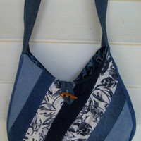 Denim purse , Upcycled denim bag , Repurposed bag , Shoulderbag , Quilted purse , eco-friendly jeans bag
