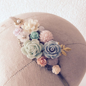 Bridal Headpiece Pastel Wedding Hair Accessories Floral Crown Fascinator Victorian Headband Woodland Blush Pink Blue Mint Green Coral H1 WR