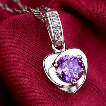 Natural Amethyst 925 Pure Silver Jewelry Design Fashion Necklace