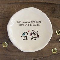 Owl  Gifts:  Owl  &  Bird  Old  Friends  Giving  Collection  Trinket  Dish     Natural  Life