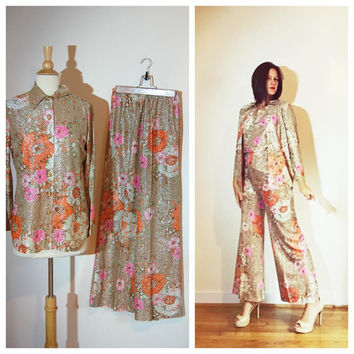 1970s Pants Set Three Piece Sparkly Flared Leg Button Down Jacket Sleeveless Blouse Fancy Evening Versatile Floral Set Size 8