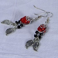 Simulated Red Sponge Coral Black Nugget Silver Leaf Dangle Earrings | AmeliaOriginals - Jewelry on ArtFire