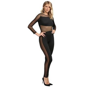 Sexy Round Collar Sheer Spliced Jumpsuit for Women