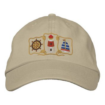 Lighthouse & Sailboat Embroidered Baseball Hat