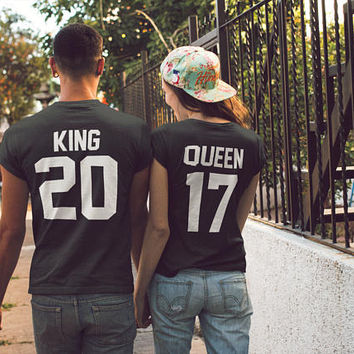 King Queen Shirts, King and Queen Couple T shirts Matching T-shirts, Valentines Day Tees Matching Tshirts Couples Tees Wedding Gift Couples