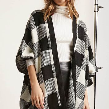Plaid Dolman-Sleeve Cardigan