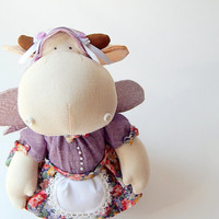 """Toy """"Cow in a lilac dress with wings """""""