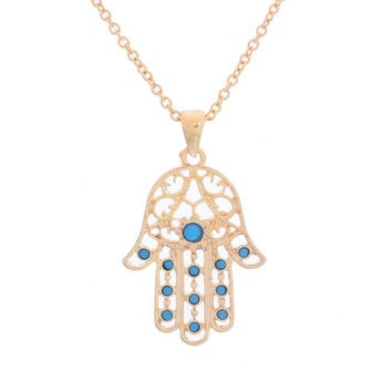 1PC Hamsa Fatima Hand Pendant Charm Chain Necklace Jewish Judaica Kabbalah (Color: Gold) = 1946249924