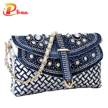 Fashion women bag 2016 new casual lady shoulder bags designer handbags high quality weaving jean bags woman purses