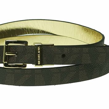Michael Kors Women's Brown & Gold Synthetic Leather Reversible Belt (Large)