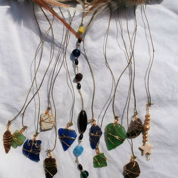 Bohemian Beach Glass Sun Catcher Dream Catcher-Driftwood Art-Seaglass Art-Lake Erie Surf Tumbled