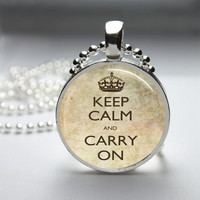 Round Glass Bezel Pendant Keep Calm And Carry On Pendant Keep Calm Necklace With Silver Ball Chain (A3773)