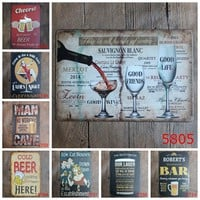 Cheers Wine Metal Poster For Bar Pub Club Shop Drink Cold Free Beer Tin Signs Vintage Home Decor Wall Art Iron Plaque YN062