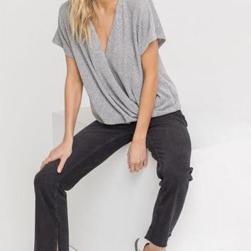 Draped Crossover Knit Top