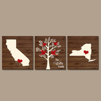 Two States Family Tree CANVAS Wood Effect Wall Art Initials Wedding Shower Gift Last Name Date Tree Birds Custom Personalized Set of 3