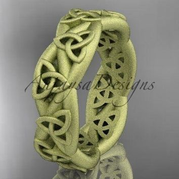 14kt yellow gold celtic trinity knot ring, matte finish wedding band, CT7392G