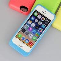 [Universal Fit for iPhone 5/5S/5C] Slim 2000mAh Extended Battery Charger Case with Rechargeable External Battery and Built-in Stand for iPhone 5, iPhone 5S and iPhone 5C with Apple 8-Pin Lightning Charging Port / MobilePal IP5C-2000 (Blue)