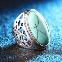 Unique Big Oval Turquoise Green Boho Style Tribal Style Silver Alloy Ring