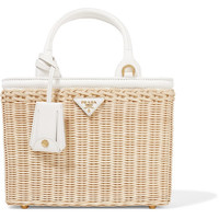 Prada - Midollino small leather-trimmed canvas and wicker tote