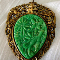 20s Brass Stamp/ Celluloid Brooch Pendant/ Asian Dragons