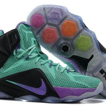 Factory Authentic Lebron 12 for6iven Dande Lion Turquoise Teal Violet Future Soldier Brand sneaker