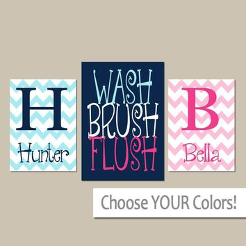 Shared BATHROOM Wall Art, Canvas or Prints Boy Girl Bathroom Wall Art, Custom Brother Sister Name Navy Blue Pink WASH Brush Flush Set of 3