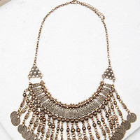 Coin Fringe Statement Necklace
