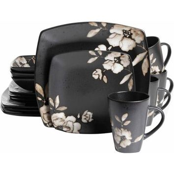 Gibson Studio 16-Piece Madame Floral Square Dinnerware Set, Black Cream Floral