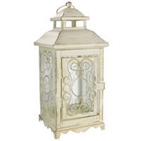 "10"" Antique White Metal Lantern 