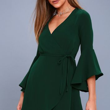 Chrissy Forest Green Flounce Sleeve Wrap Dress