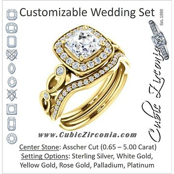 CZ Wedding Set, featuring The Madison engagement ring (Customizable Asscher Cut Design with Halo and Bezel-Accented Infinity-inspired Split Band)