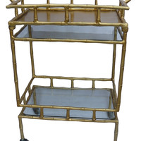 Bamboo Gold Metal Bar Cart