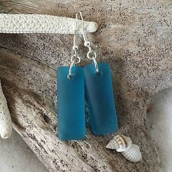 Handmade in Hawaii, Teal blue long sea glass earrings, 925 sterling silver hook, Gift box. Sea glass earrings. Sea glass jewelry.