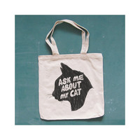 ASK ME ABOUT My Cat canvas tote. kitty. natural.