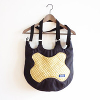 Dark gray yellow large canvas tote bag hobo bag