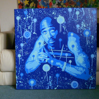 Tupac painting large canvas,custom,hip hop,2 pac,rap,stencil art,spray paints,made to order,custom,all eyes on me,makavelli,America,music
