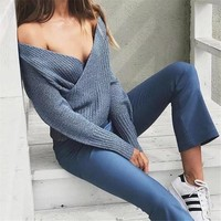 Women's Fashion V-neck Hot Sale Knit Tops Sweater [186298007578]