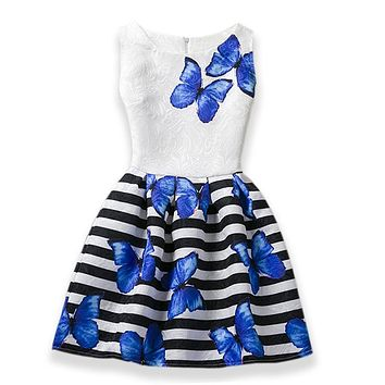 HOT Summer Elsa Dress Girl Dresses For Girls Party Dress Vestidos Butterfly Print Teenager Dress Baby Girl Clothes Costume