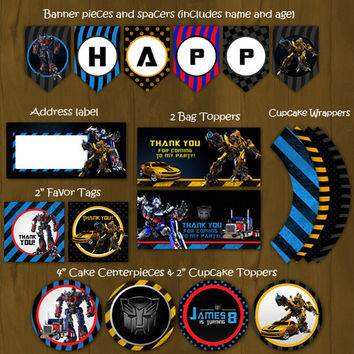 Transformers Printable Birthday Party Package - Bumblebee  and Optimus Prime Complete Birthday Set - Invitation, cupcake toppers, banner etc