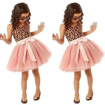 Kids Baby Girls summer Clothes Ruffle Leopard Shirt Tulle Tutu Party Dress