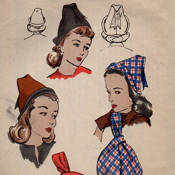 1940s Vogue Sewing Pattern Misses Womens Hat & Purse Millinery Cap Headpiece Handbag Satchel